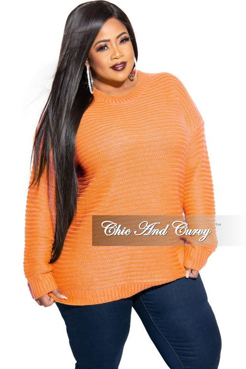 New Plus Size Long Sleeve Round Neck Knitted Tunic Dress in Neon Coral