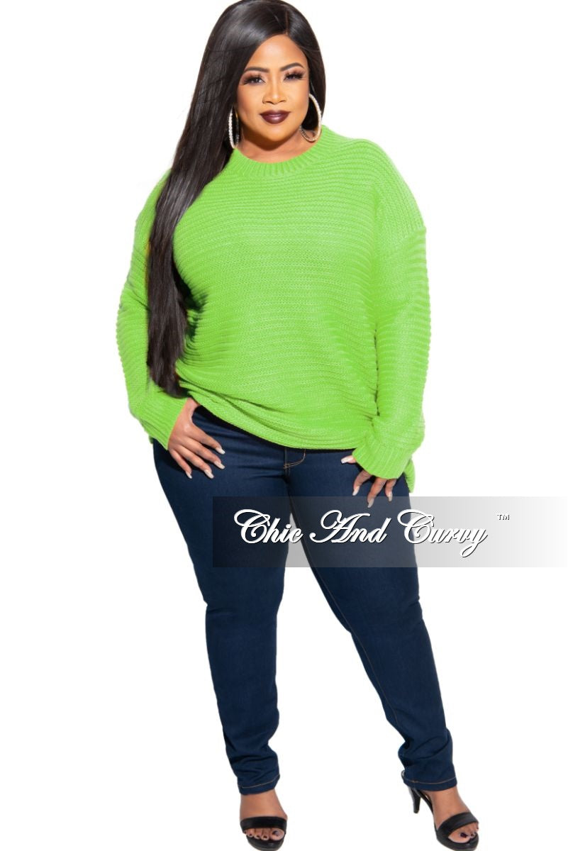 Final Sale Plus Size Long Sleeve Round Neck Knitted Tunic Dress in Neon Green