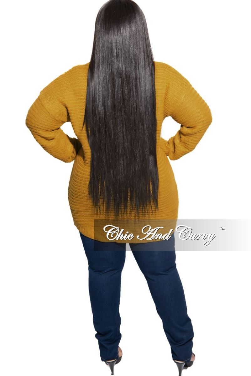 Final Sale Plus Size Long Sleeve Round Neck Knitted Tunic / Dress in Mustard