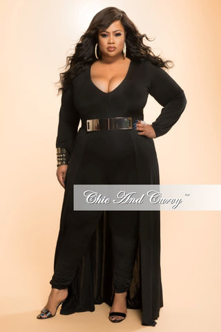 New Plus Size Jumpsuit with Attached Long Skirt in Black
