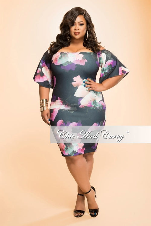 New Plus Size BodyCon Dress with Ruffle Sleeves in Black and Purple Floral Print