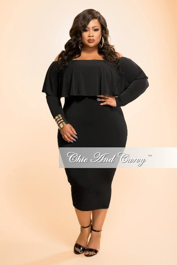 New Plus Size BodyCon Dress with Off the Shoulder Ruffle and Long Sleeves in Black