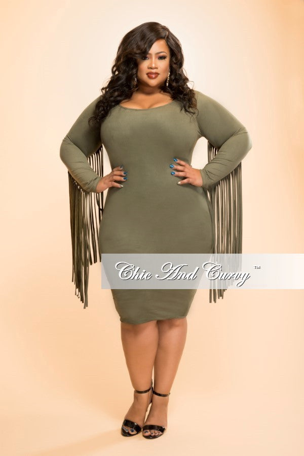 Final Sale Plus Size Faux Suede BodyCon with Fringe Sides in Olive Green