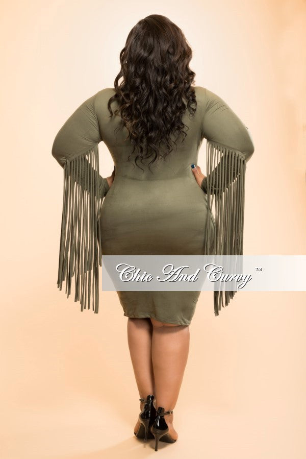 New Plus Size Faux Suede BodyCon with Fringe Sides in  Olive Green
