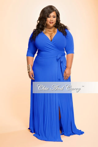 50% Off Sale - Final Sale Plus Size Long Wrap Dress w/ Short Sleeve and Tie in Royal Blue