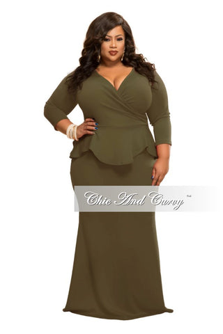 New Plus Size BodyCon Dress with Faux Wrap Peplum Top in Olive Green
