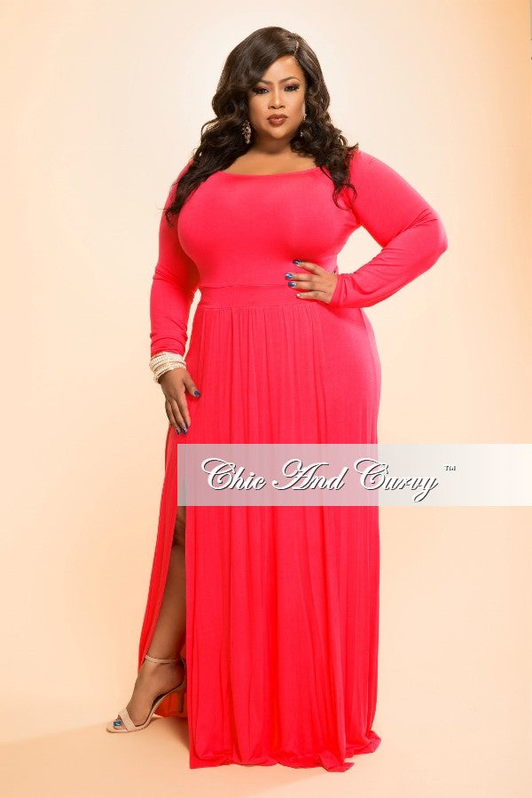 Final Sale Plus Size Long Dress with Double Slits in Red
