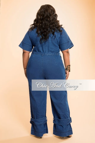 New Plus Size Jumpsuit with Tie in  Denim