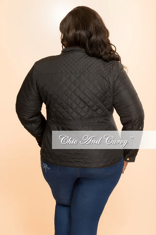 New Plus Size Puff Jacket with Gold Zipper in  Black
