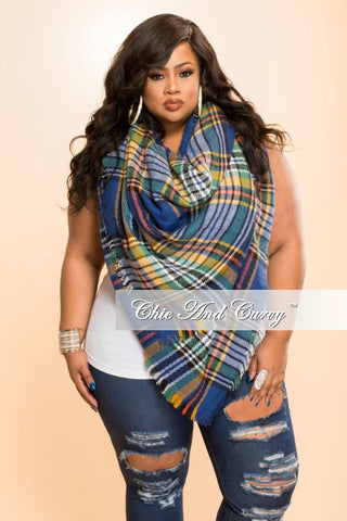 Final Sale Scarf in  Blue and Yellow Plaid Print