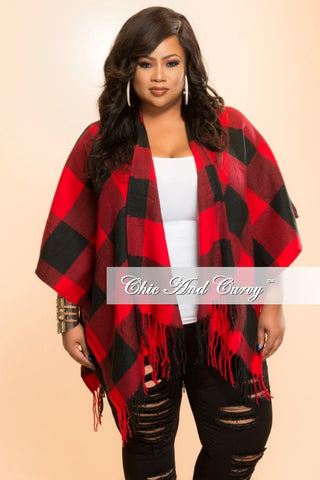 Final Sale Shawl in  Red and Black Checker Print