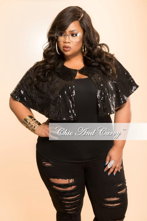Final Sale Plus Size Sequined Cape in Black