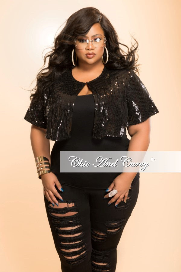 New Plus Size Sequined Cape in Black