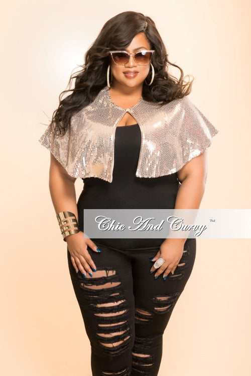 Final Sale Plus Size Sequined Cape in Blush