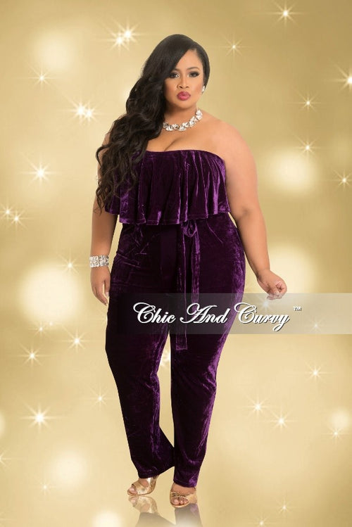 Final Sale  Plus Size Strapless Velvet Jumpsuit with Ruffle Layered Top and Attached Tie in Purple