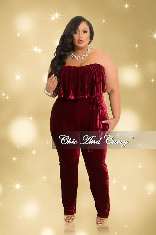Final Sale Plus Size Strapless Velvet Jumpsuit with Ruffle Layered Top and Attached Tie in Burgundy