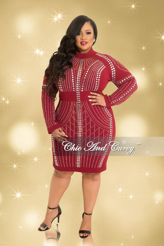 Final Sale Plus Size Long Sleeve Rhinestone Mesh BodyCon Dress with Back Zipper in Burgundy and Silver (Seasonal)