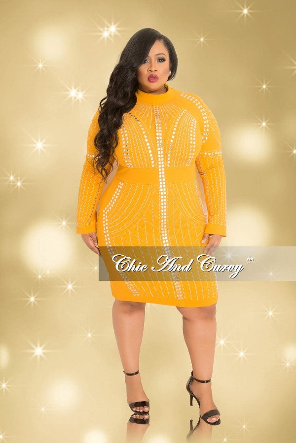 35% Off Sale - Final Sale  Plus Size Long Sleeve Rhinestone Mesh BodyCon Dress with Back Zipper in Mustard and Silver (Seasonal)
