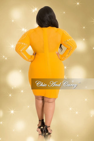 Final Sale Plus Size Long Sleeve Rhinestone Mesh BodyCon Dress with Back Zipper in Mustard and Silver (Seasonal)