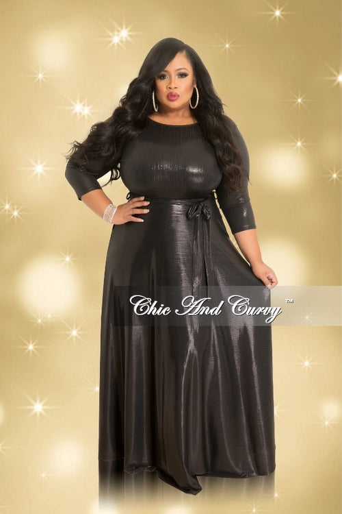 Final Sale Plus Size Gown with 3/4 Sleeves and Tie in Shiny Black (Seasonal)