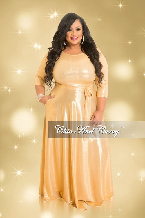 Final Sale Plus Size Gown with 3/4 Sleeves and Tie in Shiny Gold (Seasonal)