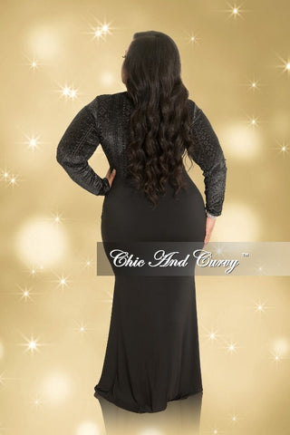 Final Sale Plus Size Shimmer Mesh Deep V-Neck Faux Wrap Gown with Front Slit in Black and Silver (Seasonal)