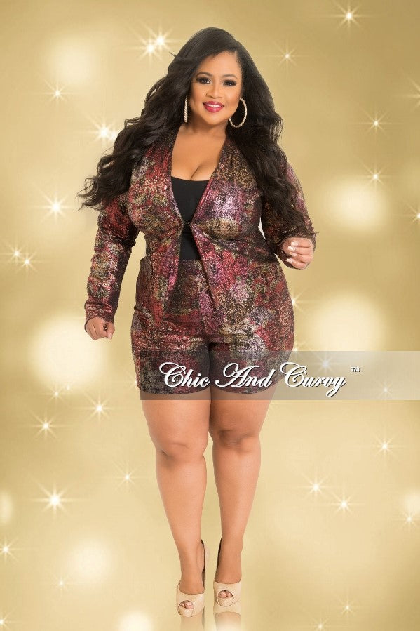 Final Sale Plus Size 2-Piece Blazer and Short Set in Multi Colored Print (Seasonal)
