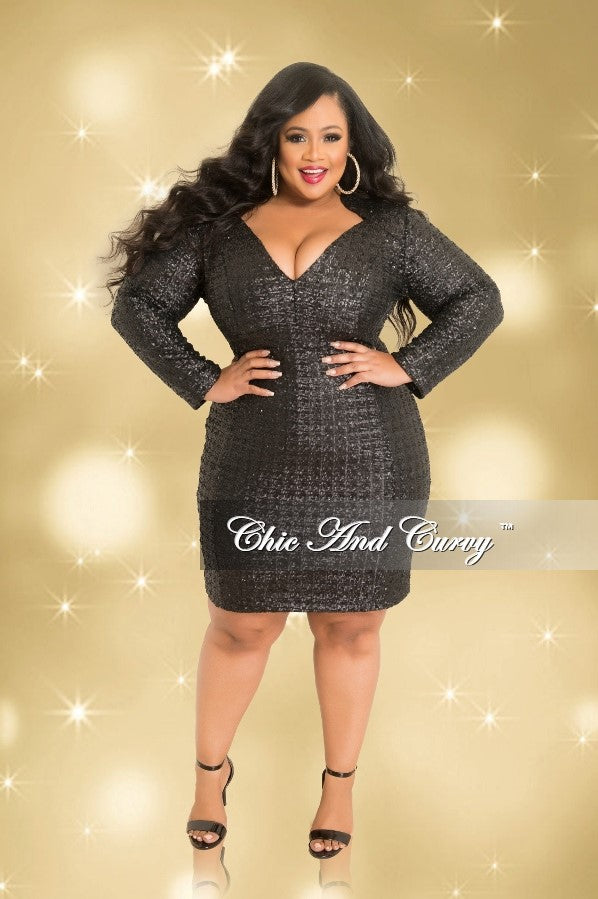 Final Sale Plus Size Long Sleeve V Neck Sequin Dress In Black Seasona Chic And Curvy