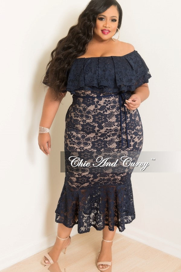 35% Off Sale - Final Sale  Plus Size Off the Shoulder Lace BodyCon Ruffle Dress with Back Gold Zipper and Attached Tie in Navy and Tan