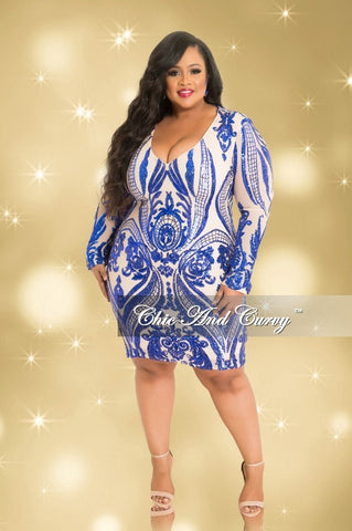 Final Sale Plus Size Mesh Long Sleeve V-Neck Sequin/Beaded Dress with Back Zipper in Nude and Royal Blue (Seasonal)