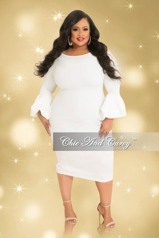 be84e849266 35% Off Sale - Final Sale Plus Size BodyCon Dress with Puffy Sleeves in Off  White (Seasonal)