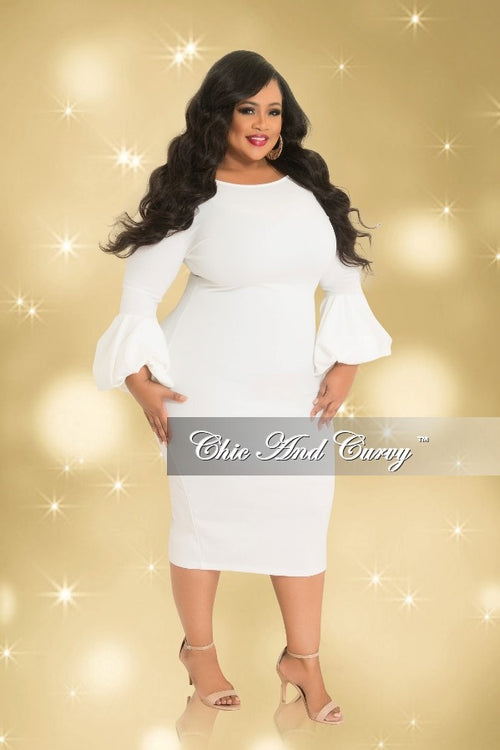 Final Sale Plus Size BodyCon Dress with Puffy Sleeves in Off White (Seasonal)