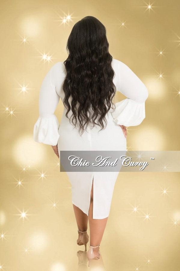 35% Off Sale - Final Sale  Plus Size BodyCon Dress with Puffy Sleeves in Off White (Seasonal)