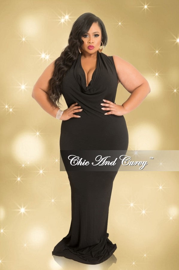 Final Sale Plus Size Cowl Neck Halter Bodycon Gown in Black