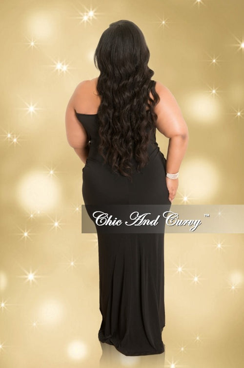 Final Sale Plus Size Cowl Neck Halter Top Bodycon Gown in Black (Seasonal)