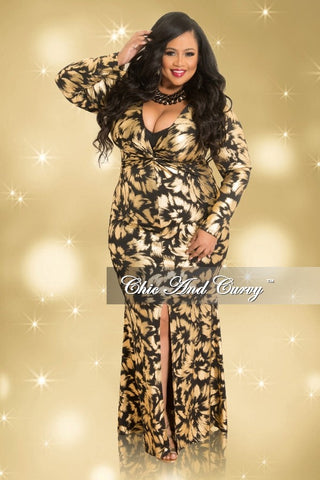 Final Sale Plus Size Long Sleeve Gown with Front Slit in Gold and Black Paint Strokes (Seasonal)