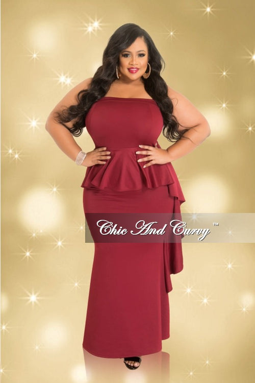 35% Off Sale - Final Sale  Plus Size Strapless Peplum Gown with Side Ruffle in Burgundy (Seasonal)