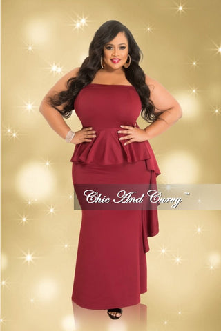 Final Sale Plus Size Strapless Peplum Gown with Side Ruffle in Burgundy (Seasonal)