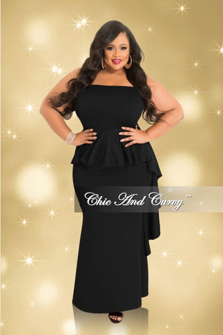 Final Sale Plus Size Strapless Peplum Gown with Side Ruffle in Black (Seasonal)