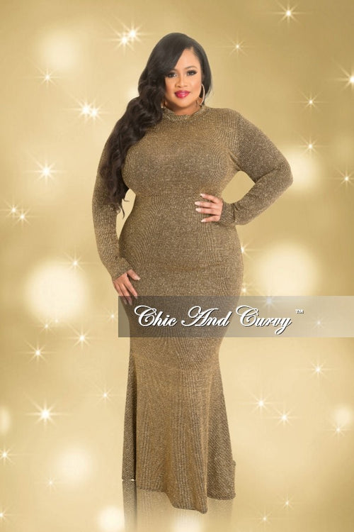 35% Off Sale - Final Sale  Plus Size Long Sleeve Glitter Gown in Gold and Black (Seasonal)