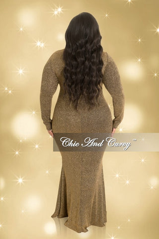 Final Sale Plus Size Long Sleeve Glitter Gown in Gold and Black (Seasonal)