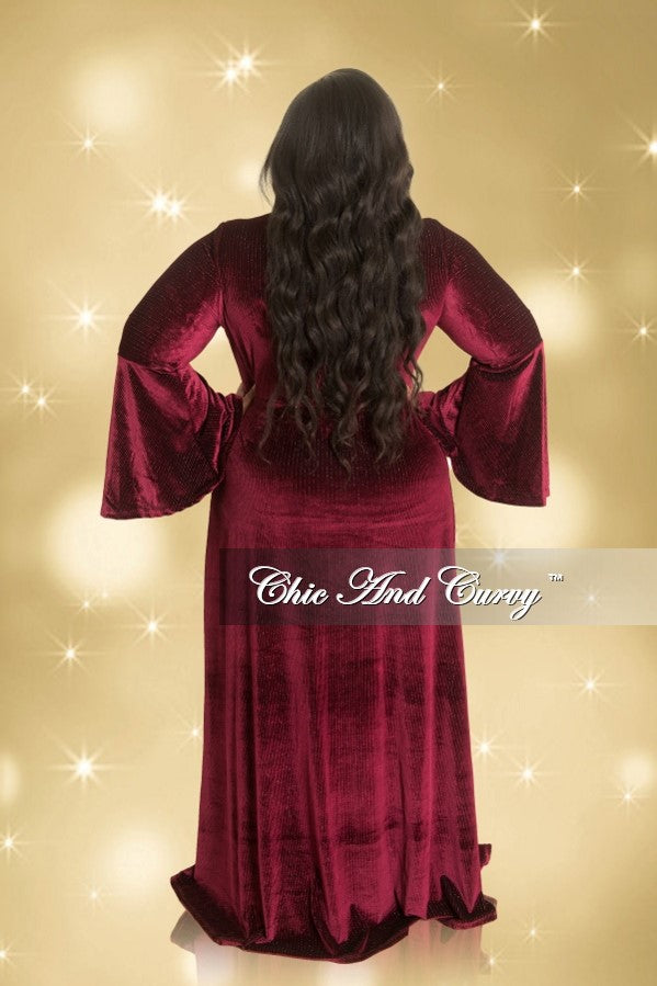 Final Sale Plus Size Shimmer Velvet Deep V-Neck Faux Wrap Gown with Bell Sleeves in Burgundy (Seasonal)