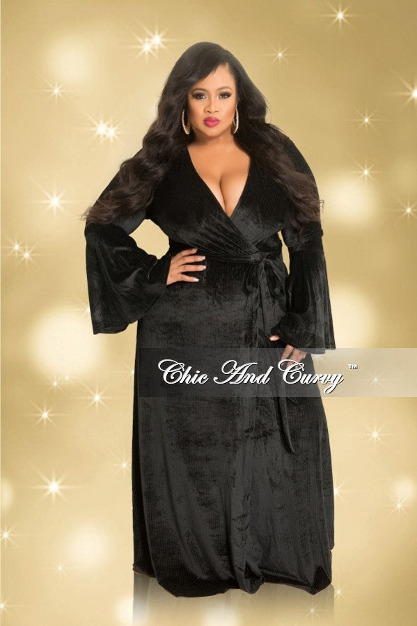 35% Off Sale - Final Sale  Plus Size Shimmer Velvet Deep V-Neck Faux Wrap Gown with Bell Sleeves in Black (Seasonal)