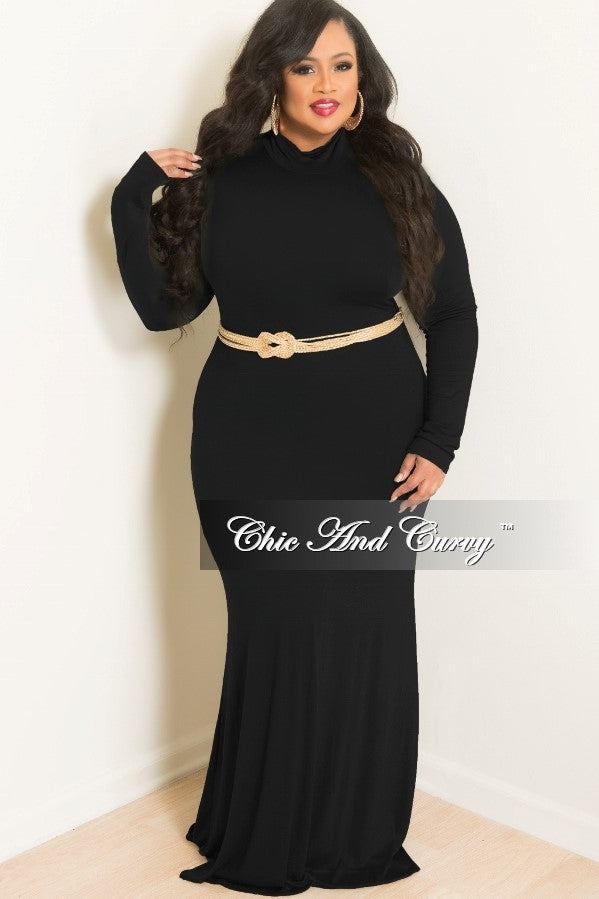 New Plus Size BodyCon Long Dress with Turtle Neck in Black