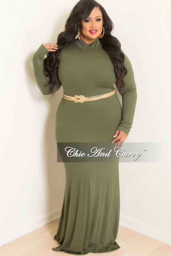 New Plus Size BodyCon Long Dress with Turtle Neck in Olive