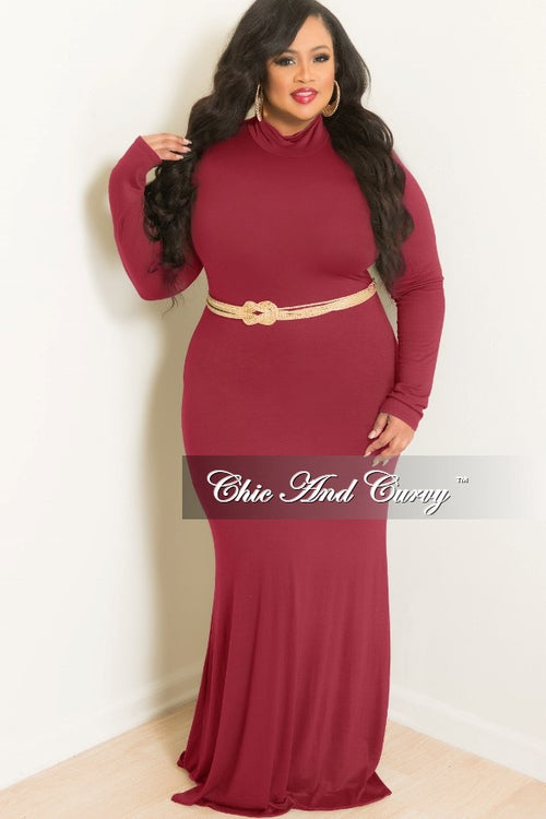 New Plus Size BodyCon Long Dress with Turtle Neck in Burgundy