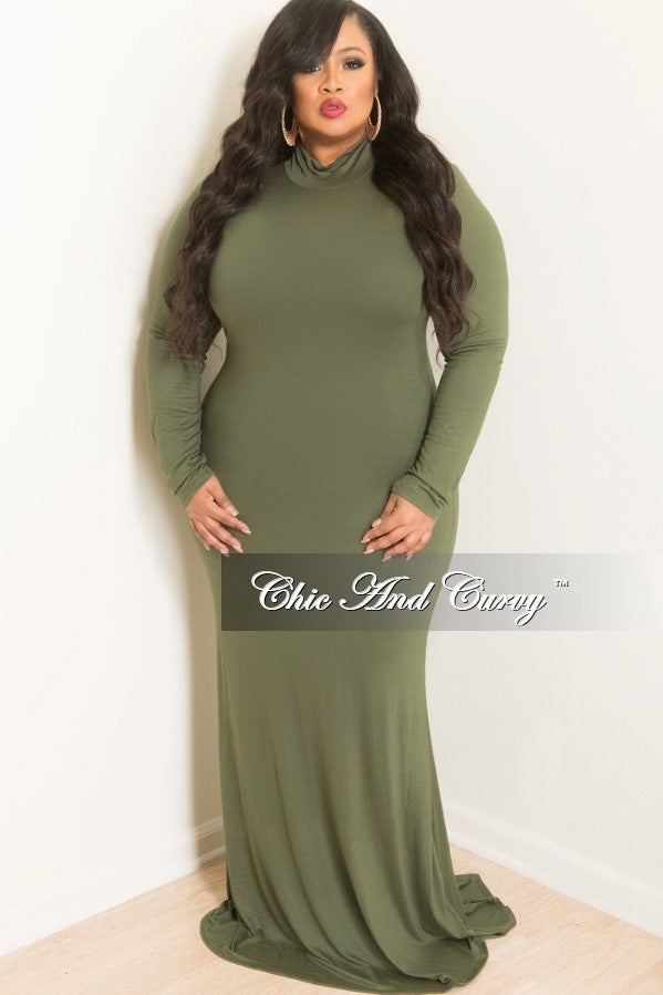 New Plus Size Bodycon Long Dress With Turtle Neck In Olive Chic