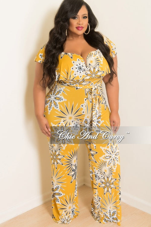 New Plus Size Off the Shoulder Jumpsuit with Ruffle V Layered Top and Attached Tie in Mustard, White, Grey and Black