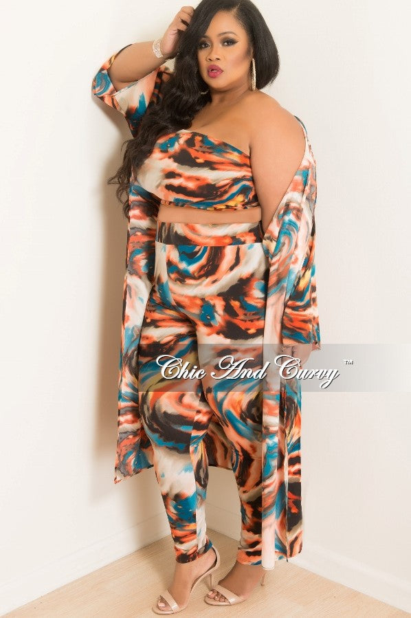 Final Sale Plus Size 3 Piece Tube Top and High Waist Pants Set With Matching Coat in Peach, Teal, Yellow, Cream and Black Print