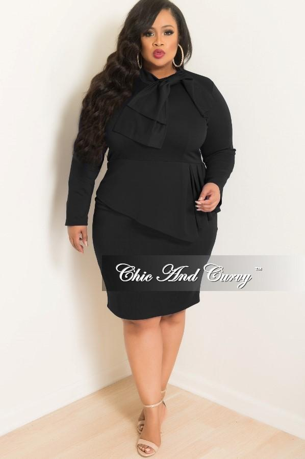 35% Off Sale - Final Sale  Plus Size BodyCon Peplum Dress with Neck Tie and Back Zipper in Black